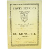 Krimschild Besitz-Zeugnis. Crimea shield award certificate