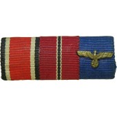 Wehrmacht Ribbon bar with 3 awards. WH medal, EK, and WiO medal