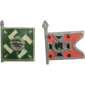 "Original WWII WHW German Flag Tinnies: Kraftfahrkampftruppe (Su16) and Regiment ""General Göring"""