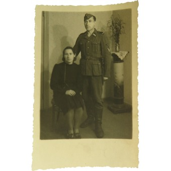 Latvian Waffen SS soldier with the wife. Espenlaub militaria