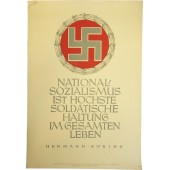 "NSDAP poster - ""National Socialism is the highest soldierly attitude in our  life."" -  Hermann Goering"