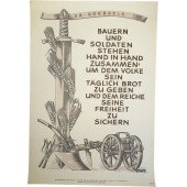 NSDAP poster: Peasants and soldiers stand hand-to-hand