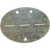 1.St.Kp.Kw.Trsp. E.u.A.Abt 15 Wehrmacht dogtag.