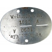 Wehrmacht dogtag W.- In. z.b.V. Dr.