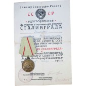 "The medal ""For the defense of Stalingrad"" with certificate"