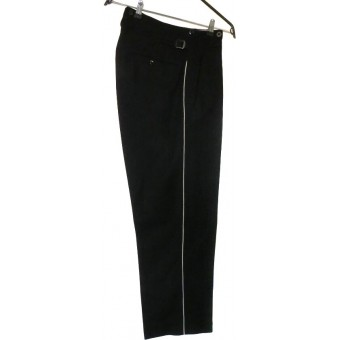 Allgemeine SS or SS-VT black, white piped straight trousers.. Espenlaub militaria