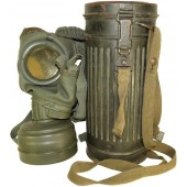 German 3rd Reich WW2 made, 1944 year dated gasmask with canister.