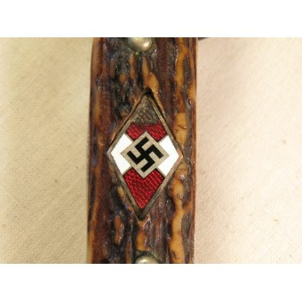 HJ Fahrtenmesser made by ASSO with etched blade with motto, Blut und Ehre. Espenlaub militaria