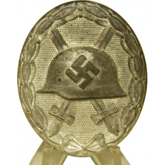 1939 Wound badge, silver class. 107 marked, zinc. Espenlaub militaria