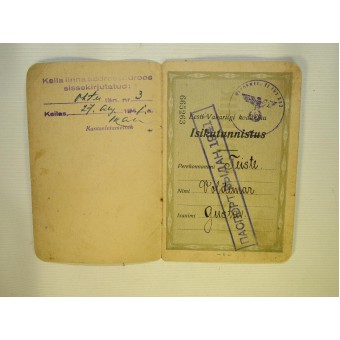 Estonian pre war citizens passport with two remarks from occupied authorities, USSR and German. Espenlaub militaria