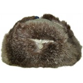 Wehrmacht Heer rabbit fur winter hat, with early brass Heeres eagle on it