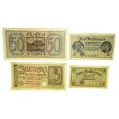 Set of paper banknotes - 3rd Reich occupied eastern territories 50, 20, 5, 2  Reichsmark