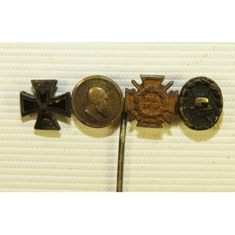 WW1 veterans miniature of Iron cross 1914, Württemberg Wilhelm service medal, Hindenburg cross 1914-18. Espenlaub militaria