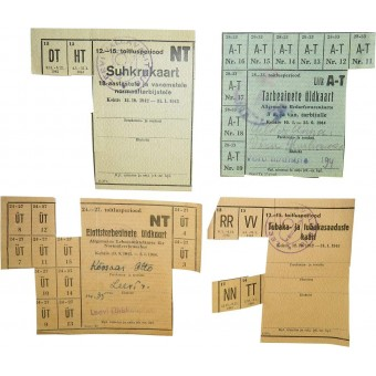 WW2 period, food and tobacco demand cards/ coupons issued in occupied Estonia. Espenlaub militaria