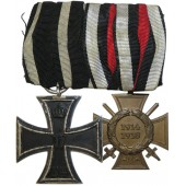 WW1 veteran medal bar - Silver EK 1914 and Hindenburg cross