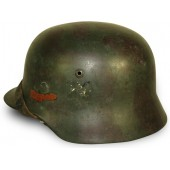 German Wehrmacht Heer M 35 camo double decal helmet