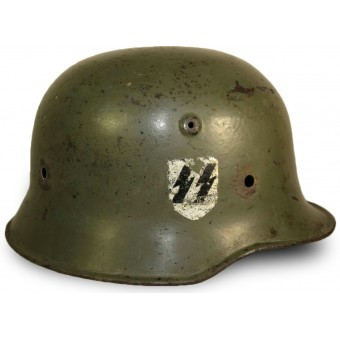 M 34 double decal Medium duty SS-VT or SD helmet. Espenlaub militaria