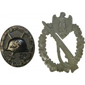 WW2 badges: Infantry Assault badge and Wound badge.
