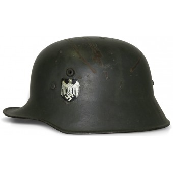 German M1918 double decal Wehrmacht steel helmet. Espenlaub militaria