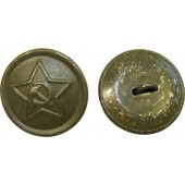 RKKA button for uniforms, steel made and painted in khaki, 21 mm