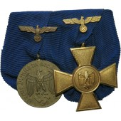 Ordensspange- Medal bar with 12 & 25 years Wehrmacht long service decorations