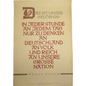 """3rd Reich NSDAP propaganda poster: """"This is our promise"""". Adolf Hitler, 1942"""