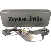 Masken-Brille. Rim glasses with metal box of issue.