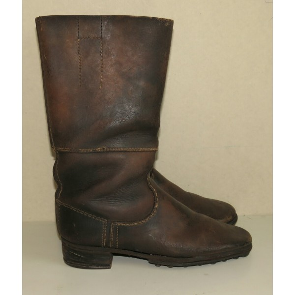 brown leather long combat boots