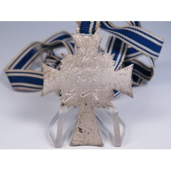 A.Hitler inscribed on the reverse German mother cross, 2 class. Frosted silvering. Espenlaub militaria