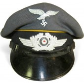3rd Reich Luftwaffe NCO yellow piped visor hat for flight troops or  parachute troops