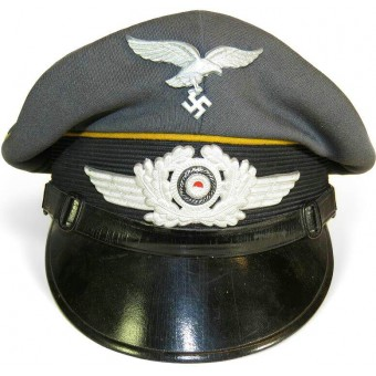 3rd Reich Luftwaffe NCO yellow piped visor hat for flight troops or  parachute troops. Espenlaub militaria