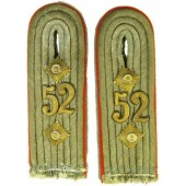 Pair of Wehrmacht Heeres artillery reservist shoulder boards in the rank of Oberleutnant, 52 art. reg