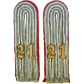 Wehrmacht Heer Arty officers shoulder boards in rank of Leutnant- Lieutenant in Artillery regiment 21