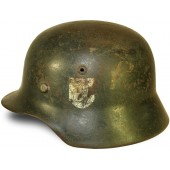 Wehrmacht Heer, German Army M 35 Steel helmet, NS 62 marked, single decal