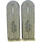 Wehrmacht Heer Medical officers shoulder boards in rank of Arzt- medical Lieutenant. Matt grey