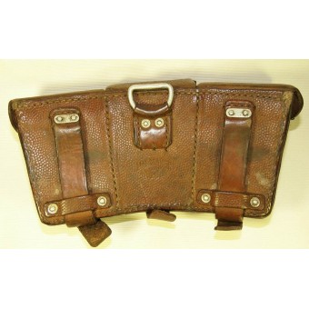 Brown leather ammo pouch for Mauser K98. DAK or Luftwaffe, 1940.