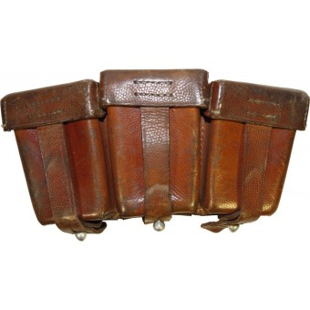 Brown leather ammo pouch for Mauser K98. DAK or Luftwaffe, 1940.. Espenlaub militaria