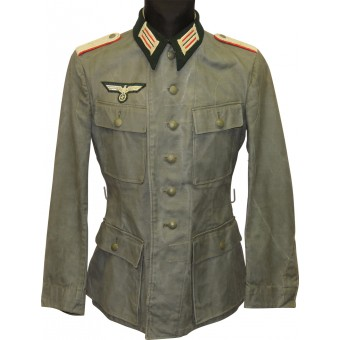 Summer Wehrmacht tunic M 43 official issue for officers in rank Lieutenant of artillery