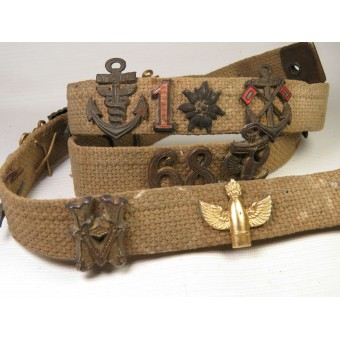 Canvas belt with German insignia, pins and ciphers. Espenlaub militaria