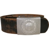 Wehrmacht Heer Parade aluminum belt buckle with a medallion and leather belt
