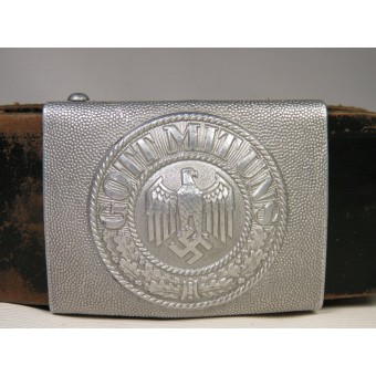Wehrmacht Heer Parade aluminum belt buckle with a medallion and leather belt. Espenlaub militaria