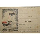 Red Army wartime propaganda postcard, Soviet plane shooting German bomber