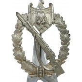 Infantry assault badge in silver, marked CW by Carl Wild