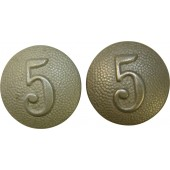 "Wehrmacht shoulder straps buttons with number ""5"""