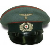 Wehrmacht Artillery visor hat, early Peküro for enlisted men