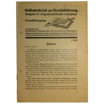 Educational literature for Wehrmacht soldiers. First issue. Espenlaub militaria