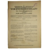 "Official issue of the Reichkomissar for the occupied territories ""Ostland"" issued in Riga"