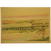 WW2 German painting - Bridge over the Desna river.