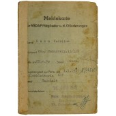 Registration card to the member of the NSDAP and it's formations