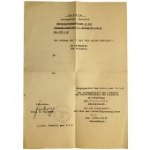 WW2 period copy of certificate of service upgrade from Feldwebel to Lieutenant